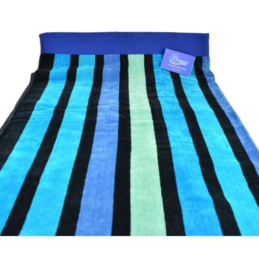 Ocean Kék Csíkos Strandtörölköző
